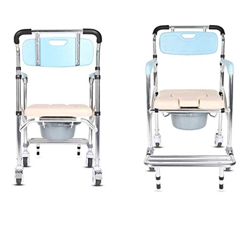 Home Wheelchair Bath Chair Wheeled Commode Over Toilet Chair Moving Toilet Shower Chair with Brakes 92