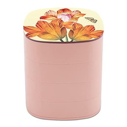 Rotar la caja de joyería, caja de almacenamiento de joyas de 4 capas, rotación de 360 grados, caja creativa para anillos, pendientes, collar, broche, baratijas, tulipanes naranja con mariposa amarilla