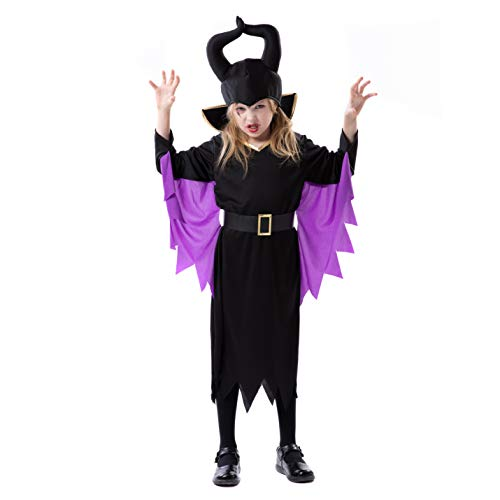 RJ Legend Evil Witch Cosplay - Halloween Devil Costume Dress Up with Horns for Little Girls, Medium