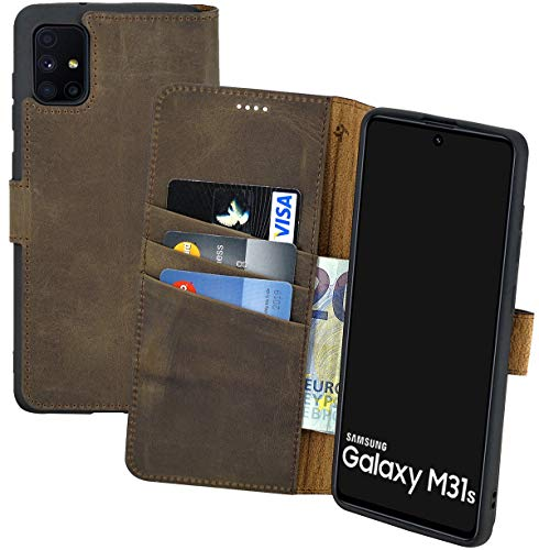 Suncase Book-Style Hülle kompatibel mit Samsung Galaxy M31s Leder Tasche (Slim-Fit) Lederhülle Handytasche Schutzhülle Hülle mit 3 Kartenfächer in antik-braun