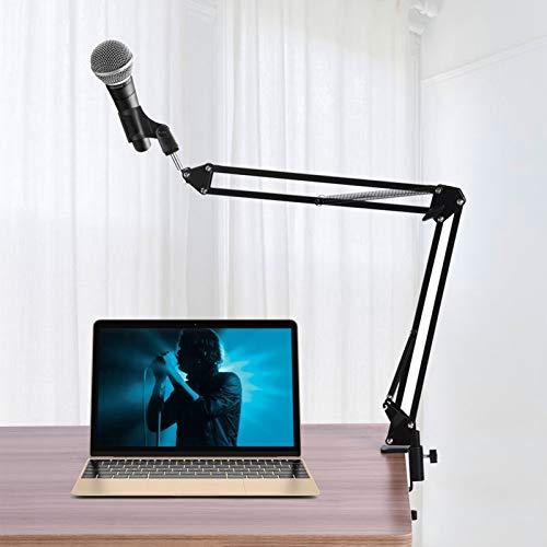 Jeanoko Soporte de brazo de tijera de micrófono, soporte de micrófono duradero para el hogar PC Mic Dynamic Mic, micrófono de condensador