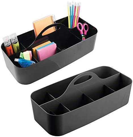 mDesign Large Office Storage Organizer Utility Tote Caddy Holder with Handle for Cabinets Desks product image