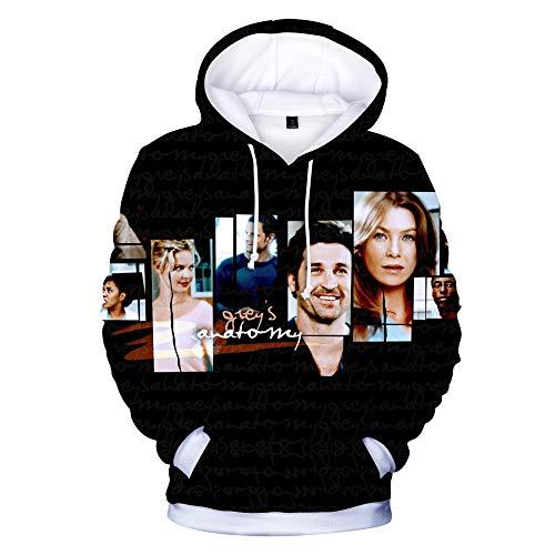 XUJIN Greys Anatomy Digital Gedruckter 3D-Kapuzen-Langarm-Pullover für Männer und Frauen.Unisex-Hoodies HD 3D-Druck-Pullover Leichte Sweatshirts mit Taschen,B,S