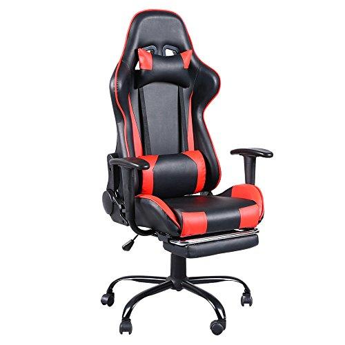 Ergonomischer Drehbarer Gaming-Rennstuhl mit Armlehnen, Höhenverstellbarem Computertischstuhl, Rückenlehne bis zu 165 ° Verstellbar, mit Nackenkissen und Rückenkissen (Black & Red)