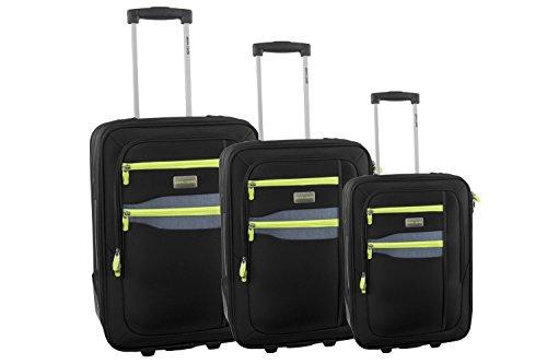 Set valigie trolley 3 pezzi semirigido PIERRE CARDIN nero da viaggio S249