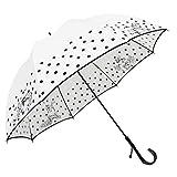 Lサイズ 晴雨兼用 日傘 UVカット 紫外線遮蔽率90% 動物と水玉柄 かわいいドーム型(深張仕様) 60cm 手開き傘 (動物と水玉・白)