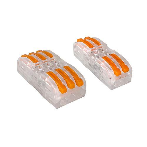 Aiqeer 30 Pezzi SPL-2 / SPL-3 Leva-Dado Cavo Connettore Kit, Bilaterale Trasparente Conduttore Compatto Connettore, Morsettiera Connettore Molla, Morsettiera Cavo Connettore Rapido