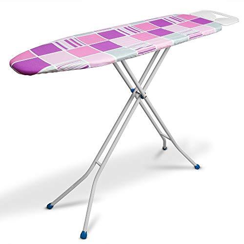 takestop® Strijkplank, inklapbaar, dubbele functie met 3-traps trapladder, 3-potige kruk/tafel, robuust, kleur van het patroon willekeurig