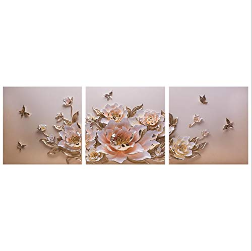 ZTI Minimalist Luxury Emboss 3D Wall Hanging Peony Flower Resin Decoration Crafts Ornaments Home Livingroom Wall Murals Accessories