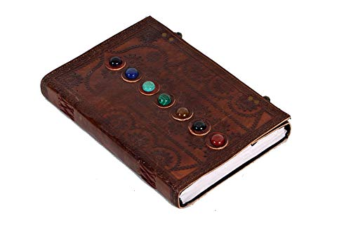 Leather Book of Shadows Journal The Charmed Blank Witch Gifts for Women Chakra Notebook Supernatural Celtic Hocus Pocus DND Spell Pagan Supplies Diary 10 x 7 inches (Brown)