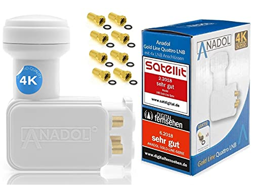 [Test 2xSEHR GUT] Anadol Gold Line Digitaler Quattro LNB für Multischalter 0.1dB Rauschmaß - Wetterschutz LNB - Full HD-TV 4K Ultra-HD - Digitaler 4fach-LNB für Satellit + 8 vergoldete F-Stecker