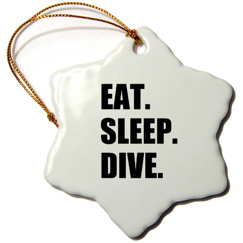 3dRose ORN_180395_1 Eat Sleep Dive Passionate About Diving High Board Or Scuba Diver Snowflake Ornament, Porcelain, 3-Inch