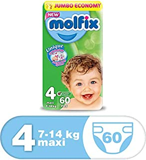 Molfix Anti Leakage Comfortable Baby Diapers, 7-14 kg, 60 Count