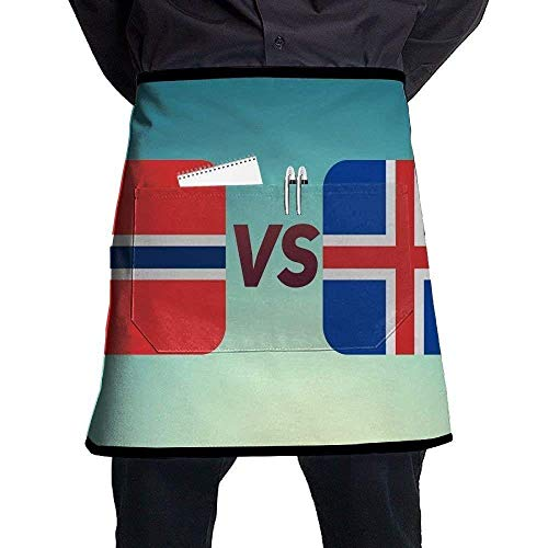 show best Deluxe Cooking Aprons, The Flag of Iceland Norway Bib Aprons Classic Pockets Half-Length Long Waist Kitchen Aprons Half Aprons