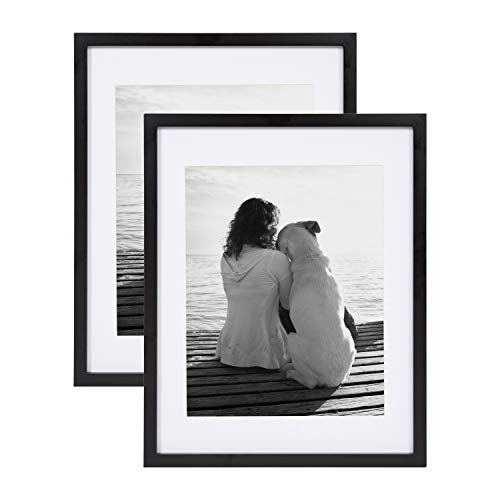 DesignOvation Gallery 14x18 matted to 11x14 Wood Picture Frame, Set of 2, Black, 2 Count