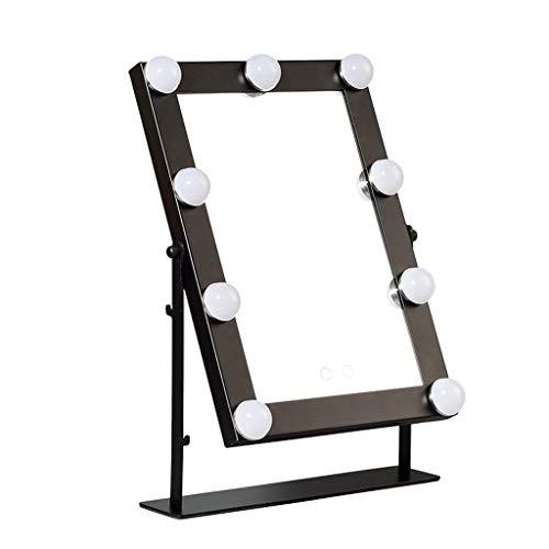 Espejo La luz LED espejo del maquillaje de Rotación de tiempo ajustable Display espejo de maquillaje plaza, for el baño dormitorio recargable luces LED Espejo para maquillarse ( Color : Black )