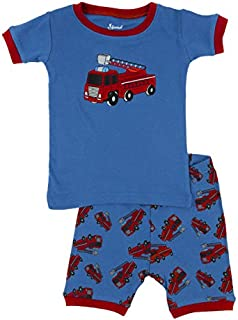 Image of Blue Red Fire Truck Pajama Shorts Set for Boys and Toddlers - See More Designs