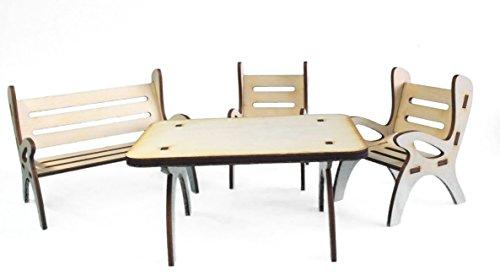 Petra's Bastel News 4-teilige Tischgruppe, bestehend Tisch, 1 x Gartenbank und 2 Stühle aus Holz, Höhe ca. 8cm