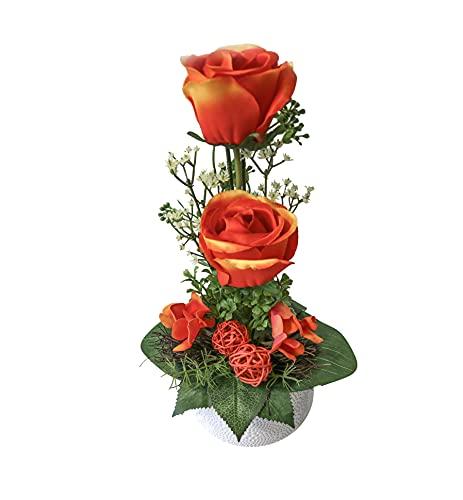 Blumengesteck Tischgesteck Tischdeko Rosen Rosengesteck Kunstblume Dekoblume künstlich Kunst Blume Muttertag Geschenkidee unecht Topf H 34 cm 115 (orange)
