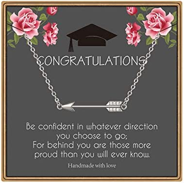 MONOOC College Graduation Gift Graduation Necklace for Girls Arrow Pendant Necklace Congratulations product image
