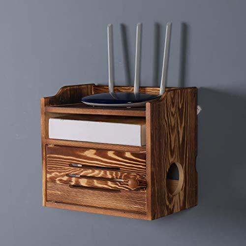 Étagère murale en bois massif Étagère flottante Étagère TV murale Set top box Étagère de rangement pour routeur Boîte de rangement de douilles étagère d'affichage multifonctions (Couleur : B)