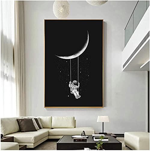SXXRZA Imagen de póster 30x50cm Sin Marco Arte Divertido Astronauta Espacial Columpiándose en la Luna Estrellas Imágenes de Pared para Carteles de Sala de Estar e Impresiones Decoración del hogar