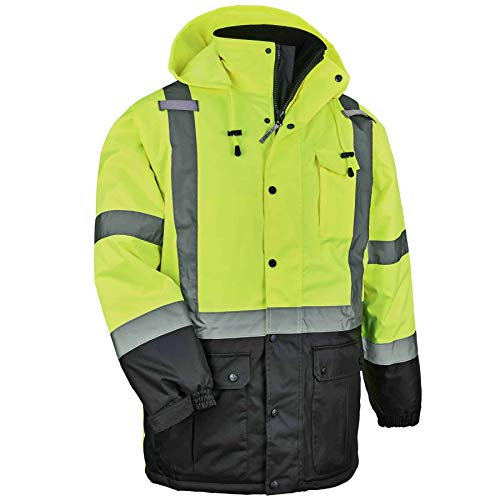 High Visibility Reflective Winter Safety Jacket, Insulated Parka, ANSI Compliant, Ergodyne GloWear 8384,Lime,Large
