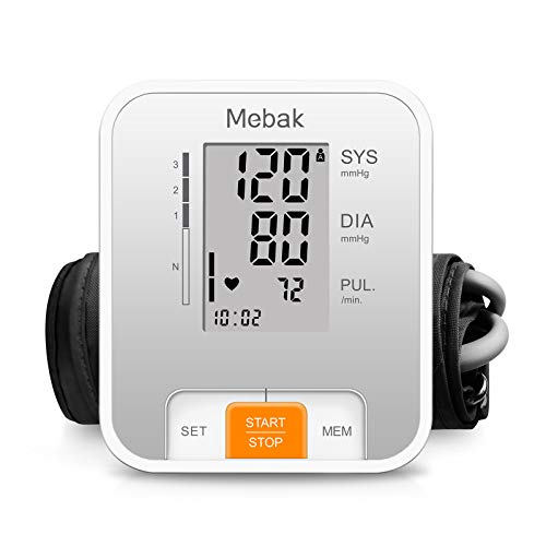 Blood Pressure Monitor Upper Arm, Mebak Automatic Digital BP Machine Cuffs for Home Use, Pulse Rate Monitoring with Large Display, 2x120 Memory