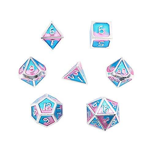DollaTek 7PCS DND Spiel Polyedrisches D & D-Würfel-Set aus massivem Metall mit Aufbewahrungstasche und Zinklegierung mit Emaille für Rollenspiel-Dungeons und Drachen (Double Color Mix Blau und Pink)