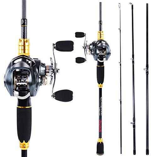 Sougayilang Fishing Rod and Reel Combos,24-Ton Carbon Fiber Fishing Poles with Baitcasting Reel,11+1 Ball Bearings for Travel Freshwater