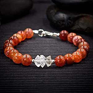 Fire Agate and Herkimer Diamond Bracelet - Helps eliminate cravings and addictions