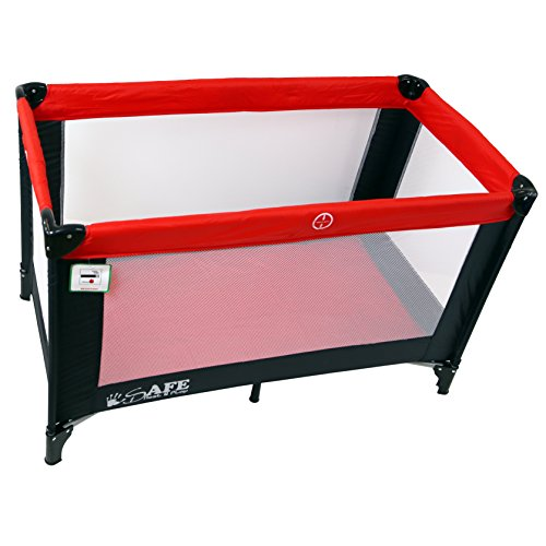iSafe Rest & Play Luxury Travel Cot/Playpen - Warm Red (Black/Red) 120 cm x 60 cm Complete with Mattress