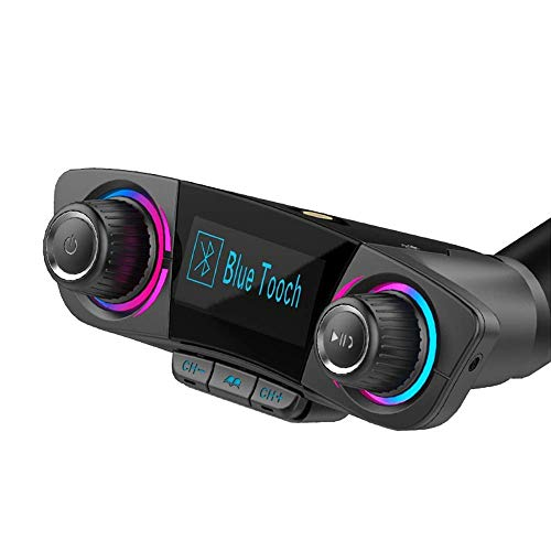 3T6B Bluetooth FM Transmitter for Car, Wireless Radio Audio Adapter Car Kit Dual USB Car Charger with Hand-Free Calling, Music Player Support TF/SD Card USB Flash Drive AUX Input/Output