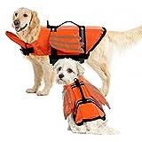 IDOMIK Dog Life Jacket for Small Medium Large Dogs, Reflective Pet Life Vest Preserver Adjustable Wing Lifesaver Swimsuit with Rescue Handle, Dog Flotation Jacket Coat for Beach Pool Boating Swimming