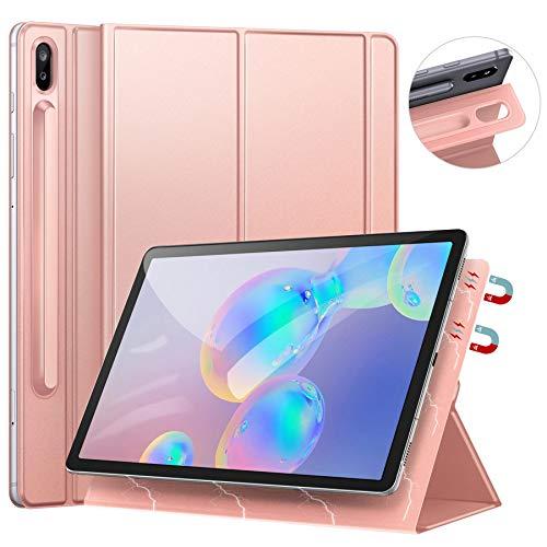 Ztotops Hülle für Samsung Galaxy Tab S6 10.5 2019, Ultra dünn Smart Magnetische Abdeckung, Trifold Stand Cover Mit S Pen Halter für Samsung Galaxy Tab S6 10.5 Zoll (SM-T860/T865), Roségold