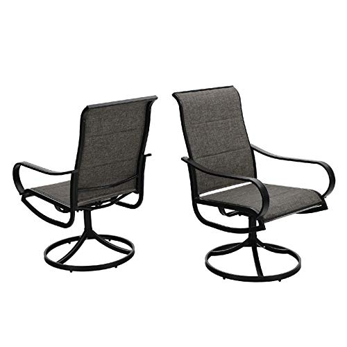 MFSTUDIO 2 Pieces Patio Dining Swivel Chairs,Quick Dry Foam Padded with Steel Metal Frame Backyard Rocker Chairs,Brown Sling Fabric and Black Frame