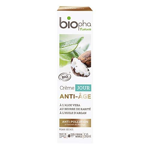 Biopha Nature – Crème jour anti-âge certifiée biologique – Aloe vera, huile d'argan & beurre de karité – Raffermit et nourrit les peaux sèches – Tube de 50ml
