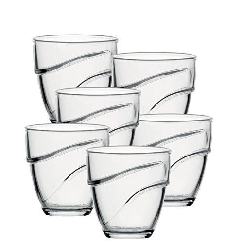 Duralex Wave copa de agua 270ml, apilable, sin la marca de llenado, 6 vidrio