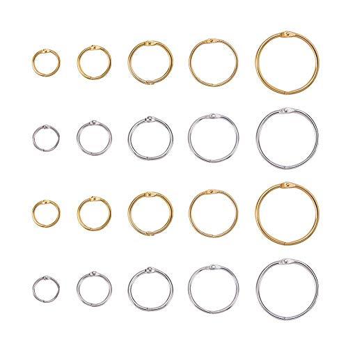 PandaHall Elite & reg 100 stücke Eisen Loose Leaf Buchbinder Klapp Ringe, Golden & Platinum, Mischfarbe