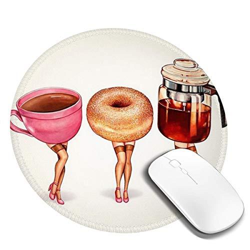 7.9x7.9in koffie en middag thee voor dames ronde muismat bureau toetsenbord mat grote muis pad voor computer desktop pc laptop, kantoor,