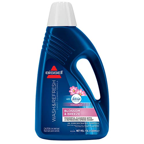 Best Review Of BISSELL Wash & Refresh Febreze Blossom & Breeze Carpet Shampoo, Dark Blue