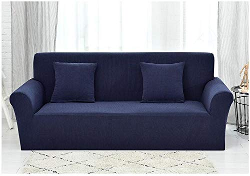 Forro de Sofá Doméstico,Knitted Check Stretch Sofa Cover, Full Cover Non-Slip Cushion Cover, Home Anti-fouling Protective Cover-Sapphire Blue_190-230cm