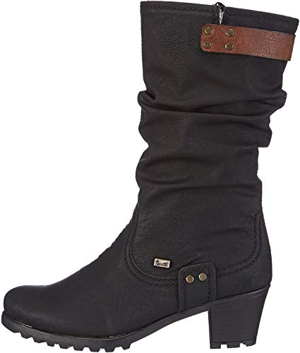 Rieker Damen Stiefel Y8086, Frauen Winterstiefel,riekerTEX, Women's Women Woman Freizeit leger Winter-Boots warm,schwarz/Brandy / 00,41 EU / 7.5 UK