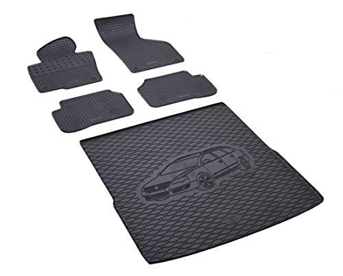 Rigum Passende Gummimatten und Kofferraumwanne Set geeignet für VW Passat Variant ab 2011 + Gurtschoner