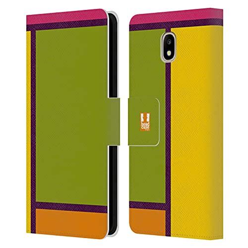 Head Hülle Designs Preppy Farbige Kacheln Leder Brieftaschen Handyhülle Hülle Huelle kompatibel mit Samsung Galaxy J5 (2017)