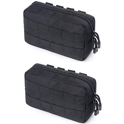 Azarxis Equipment Multi-Purpose Tactical EDC Admin MOLLE Pouch Utility Tools Bag Organizer Military Waist Belt Modular Attachment (Black - 2 Pack)