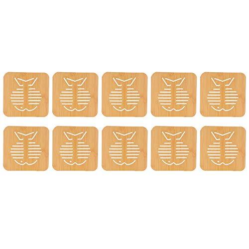 Longzhou Accessoires de Cuisine 10pcs napperon Creux Imitation Bambou Isolation Anti-brûlure Bol Tasse Tapis(1)