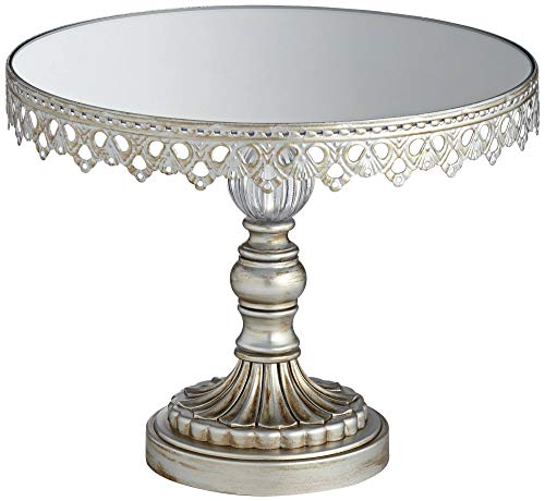 Dahlia Studios Antique Silver Cupcake Cake Stand Mirrored Top 10 Wide with Crystal Accent for Wedding Birthday Kitchen Serveware