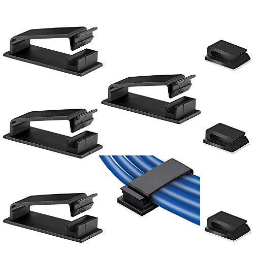 Clip de Cable Adhesivos Organizador de Cables Autoadhesivo Gestión de Cable Eléctrico Abrazadera de Alambre para Casa Oficina (60 Piezas S + 20 Piezas L)