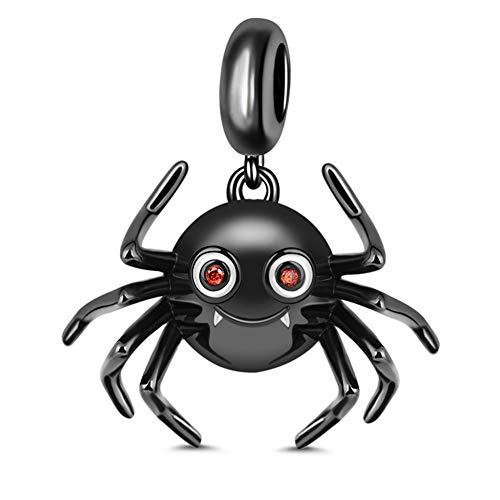 GNOCE Süße Spinne 925 Sterling Silber Charm Anhänger Schwarz überzogen Charm Bead Fit Armband/Halskette was denkst du über Mich Geschenk für Damen Herrn